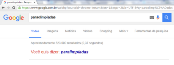 Google sugere a grafia oficial do evento